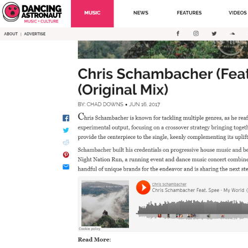 dancing astronaut, chris schambacher, my world